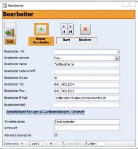 Bearbeiterdaten, Kontaktdaten