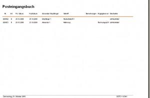 Posteingangsbuch, Postausgangsbuch per Software erstellen und in Kuzform oder Langform ausdrucken