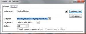 Suche in der Software Postbuch Plus - das Suchen-Formular